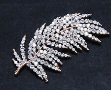 Rose Gold Silver Feather Leaf Wedding Rhinestone Brooch Pin Crystal Jewelry