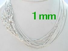 20 pcs 1mm 16~24 inches Silver Plated Snake Necklace Chains Men/Women wholesale