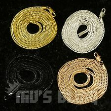 3mm Franco Chain 24 30 36 Inch 14k Finish White Silver Rose Gold Black Necklace