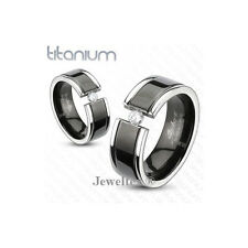 Titanium 2-Tone Black Gold Grooved 8mm Wide Gem Set Band / Wedding Ring. HJ164M