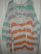 Sonoma Open Weave Long Seeve cotton/poly Tie at neck Machine Wash Sweater BNWT