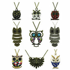 UK NEW WOMENS VINTAGE STYLE LADIES RETRO LONG CHAIN OWL PENDANT NECKLACE