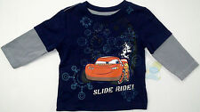 New Disney Cars lightning mcqueen slide ride toddler boys t-shirt long sleeve