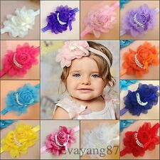 "12pcs baby Girl's Chiffon 5.5"" pearls flower Elastic Glossy headband hair bow"
