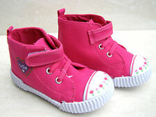 BABY GIRLS LEATHER INSOLE PINK CANVAS TRAINERS SHOES NURSERY SIZE UK 2.5 - 10