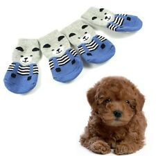 Fashion Pet Dog Cute Soft Cotton Anti-slip Knit Weave Warm Sock Skid Bottom 4Pcs