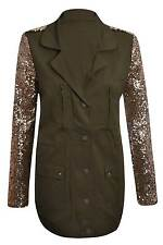 New Womens Celebrity Military Style Ladies Khaki Gold Sequin Sleeve Jacket 8-14