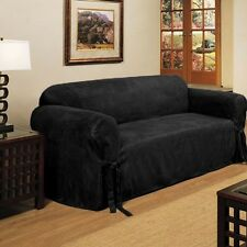 2 PC MICRO-SUEDE FURNITURE SLIPCOVER SOFA & LOVESEAT COUCH COVERS, BLACK BROWN
