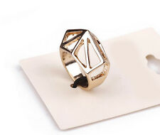Simple Punk Rock Hollow Geometric Triangle Design Women/Men Golden Ring Quality