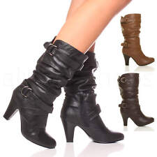 WOMENS LADIES BUCKLE BLOCK MID HIGH HEEL ZIP RUCHED SLOUCH CALF BOOTS SIZE