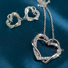 18k gold gp made with SWAROVSKI crystal earrings heart pendant necklace set