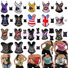 Gothic Tattoo Boned Padded Elastic Corset Bustier Top Halloween Party Costume