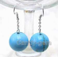 SALE 10MM Round Blue Natural TURQUOISE Dangle Earring hook-ear176