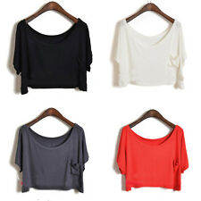 Women Solid Batwing Sleeve Loose Modal T-Shirt Blouse Crop Tops Cropped Fashion