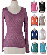 Sexy Burnout Deep V Neck Long Sleeve  Low Cut Fitted Slim T Shirt Top Blouse