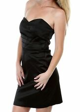 WOMENS CLOTHING SEXY BLACK PLEATED SATIN STRAPLESS COCKTAIL DRESS