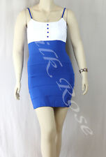 WOMENS CLOTHING SEXY LITTLE WHITE & BLUE CLUB DRESS INCL PLUS SIZES