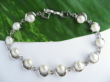 7mm White Real Cultured Freshwater Pearl Moon Star Platinum Plated Bracelet Gift