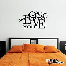 Love You Arrow And Heart Vinyl Wall Decal removable home art decor sticker L051