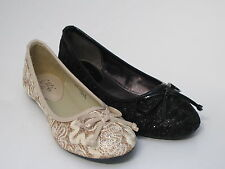 Girls Cutie H2248 Lace Effect Slip On Ballerinas with Bow