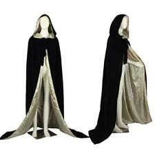 Black/Gold Hooded Cloak Velvet Cape Shawl Wedding Wicca Coat Stock Free Shipping