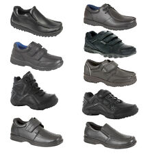 BOYS BLACK SCHOOL SHOES KIDS INFANT VELCRO TRAINERS BACK TO SCHOOL KIDS SIZE 8-6