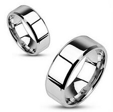 Stainless Steel Mirror Polished Flat Band with Beveled Edge Ring 6mm size 5 - 12