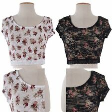 Cute Round Neck Floral Print Lace Crochet Sheer Cropped Cap Sleeve Shirt Top
