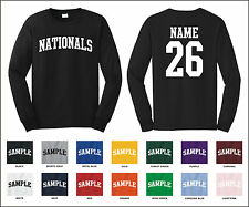 Nationals Custom Personalized Name & Number Long Sleeve Jersey T-shirt
