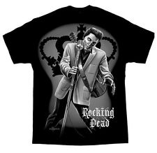AUTHENTIC DGA DAVID GONZALES ROCKING DEAD ELVIS ZOMBIE GANGSTER TATTOO T SHIRT