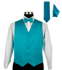 Men's Poly Satin Solid Tuxedo Vest 4pc Set Milano Moda Style 004