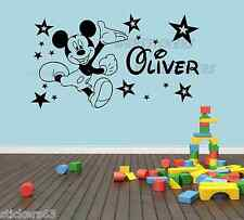 Mickey Mouse & Stars wall art  girls boys bedroom sticker  personalised any name