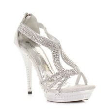 Womens Ladies Strappy Silver Diamante Glam Party High Heel Shoes, Uk Size 3-8