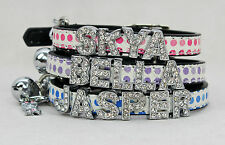 Personalised cat collar/kitten safety collar,Bling Rhinestone Diamante cat collr