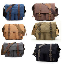 new Men Women Canvas+Leather Shoulder Bag Messenger Bag  School Laptop Bag purse