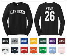 Canucks Custom Personalized Name & Number Long Sleeve Jersey T-shirt