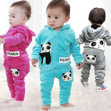 Baby Toddler Panda Hoodie Outerwear Top+Pant Boy Girl Children Clothing 2Pcs Set