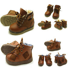 Cool Boy Brown Winter Snow Boots, School Boys UK Size 8 9 10 11 Shoe/ 3 4 5 6Yrs