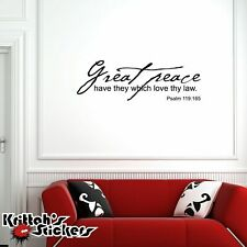 Great Peace, Psalm 119:165 Vinyl Wall Decal bible quote home decor sticker L064