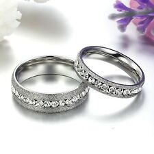 Couple Rings Wedding Love Crystal Bands Stainless Steel Frost Gifts 1PC 359