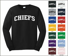 Chiefs College Letter Team Name Long Sleeve Jersey T-shirt