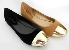 New Fashion Casual Black/Tan Suede Ballet Flats Shoes with Metal Point Size:5-10