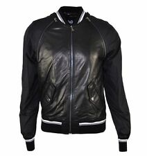 D&G DOLCE & GABBANA Leather Jacket Black Veste en Cuir Noir 01755