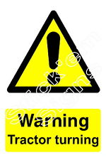 Warning Tractor turning - stickers & signs