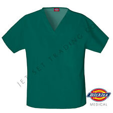 DICKIES MEDICAL SCRUBS UNISEX H.GREEN V-NECK ONE POCKET TOP (NEW, Sizes XS-XL)