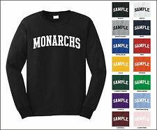 Monarchs College Letter Team Name Long Sleeve Jersey T-shirt