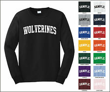Wolverines College Letter Team Name Long Sleeve Jersey T-shirt