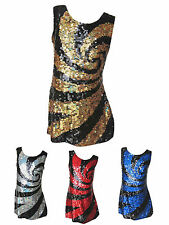 Girls New Sequin Dress Swirl Style 4 Colour Choice Party/Casual 3Years-12Years