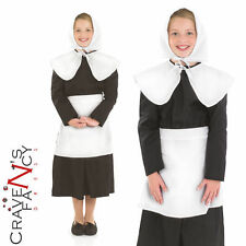 Girls Amish Puritan Maid Costume Book Day Kids Pilgrim Fancy Dress Outfit New