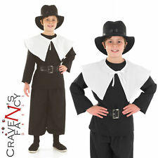 Child Puritan Amish Costume Historical Book Week Day Boys Fancy Dress Outfit New